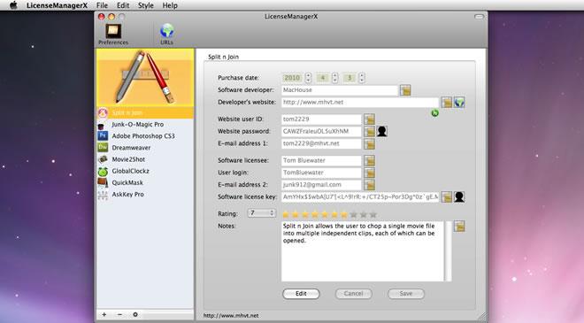 Mac software LicenseManagerX